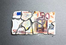 Burned euro note