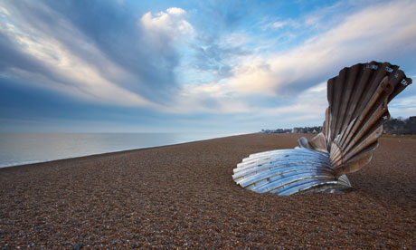 Aldeburgh beach on the Suffolk Coast showing Maggie Hambling's sculpture 'Scallop'
