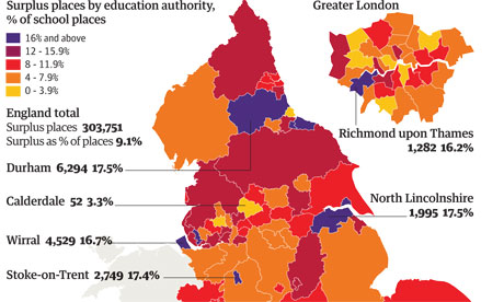 Secondary school excess places graphic