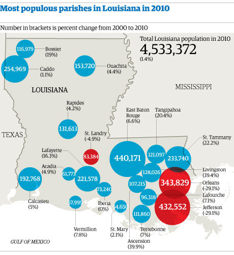 Map: Louisiana population
