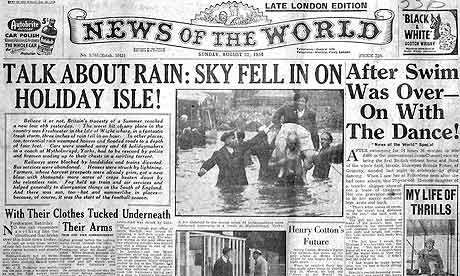 News Of The World front page from 1954