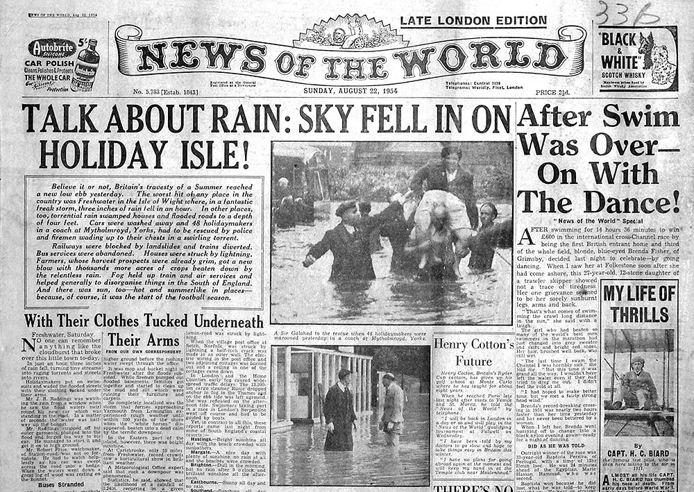 News Of The World Front Page From 1954 View Larger Picture