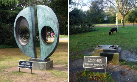 Two Forms (Divided Circle) by Barbara Hepworth which has been stolen from Dulwich Park