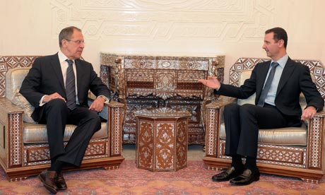 Syrian President President Bashar al-Assad meets with Russian Foreign Minister Sergey Lavrov in Damascus, Syria