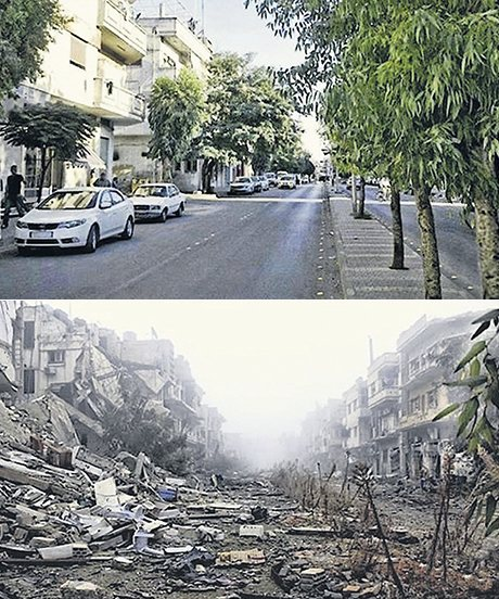 A street in Homs, Syria in 2011 and 2014