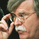John Bolton adjusts his glasses during his confirmation hearing before the US senate foreign relations committee. Photograph: Brendan Smialowski/AFP/Getty Images