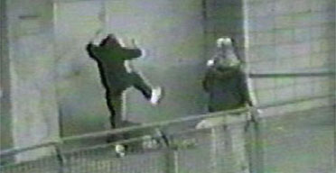 Metropolitan Police CCTV still handout of an attack on Wayne Miller, who was sleeping rough in a doorway. A gang who undertook and filmed a series of brutal assaults and robberies including this attack and the killing of David Morley have been sentenced to a total of 44 years imprisonment at the Old Bailey