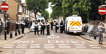 Police at scene of an anti-terror raid in Forest Gate, east London. Photograph: John Stillwell/PA