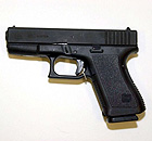 A 9mm-bore Glock 19 handgun.