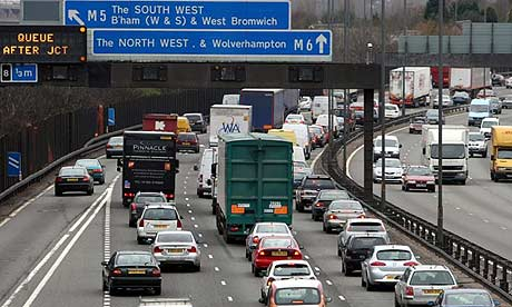 Heavy traffic on the M6 in the West Midlands