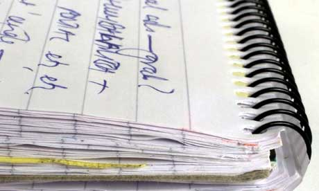 Close-up of a journalist's notebook