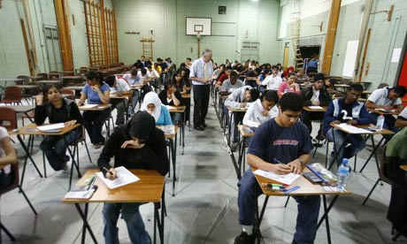 Pupils sitting exams at the Seven Kings High School in Ilford, Essex