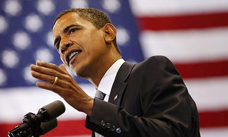 US Democratic presidential nominee senator Barack Obama speaks at a campaign rally in Fayetteville, North Carolina