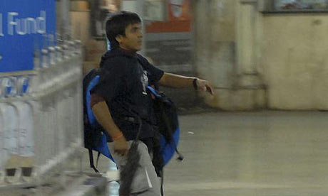 Azam Amir Kasab filmed on CCTV inside the Chhatrapati Shivaji train station in Mumbai