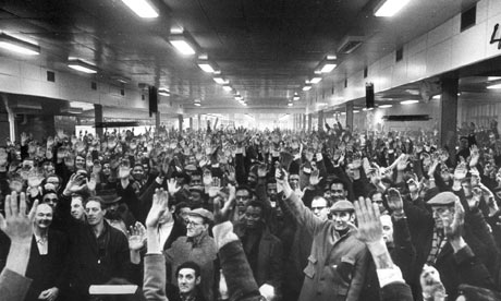 Workers at the Ford Dagenham plant voting to strike in 1971