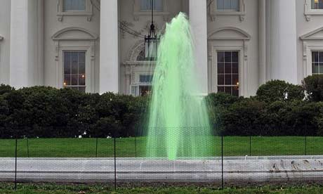 Fountain at White House flows with green water for St Patrick's Day