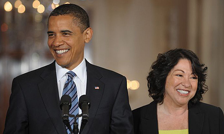 Barack Obama stands next to Sonia Sotomayor, his pick for supreme court justice, in the East Room of the White House