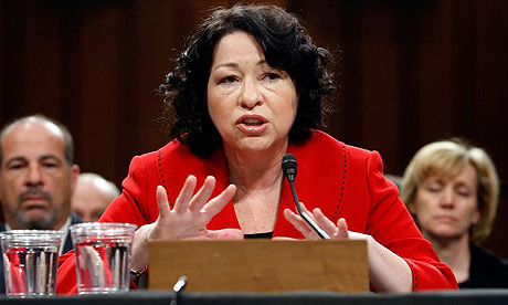 Supreme court nominee Sonia Sotomayor answers questions during the second day of her confirmation hearings in Washington