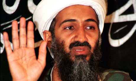 Osama Bin Laden addressing news conference in Afghanistan