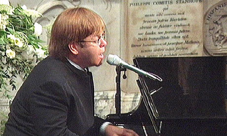 Elton John sings Candle In The Wind during the funeral of Diana