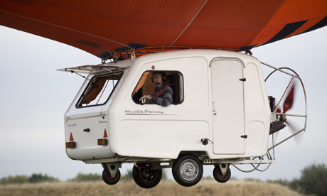 Jeremy Clarkson in a caravan-airship for the new series.