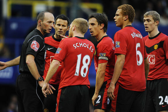 Image result for utd players surrounding ref