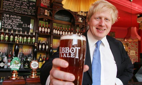Boris Johnson enjoys a pint of Greene King s Abbot Ale