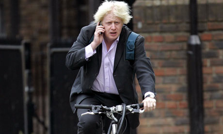 Boris Johnson cycling in London with a mobile phone, Britain - 05 Oct 2006