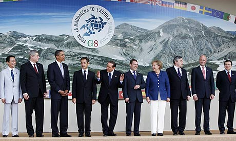Leaders at the G8 summit in L'Aquila, Italy