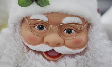 A Santa figure for sale at the Yule Sun Electronics and Toys Factory wholesale store in Yiwu, China