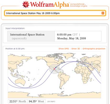 Wolfram Alpha shows the location of the International Space Station