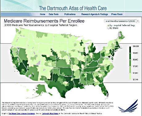Dartmouth Atlast of Health Care Medicare Spending map