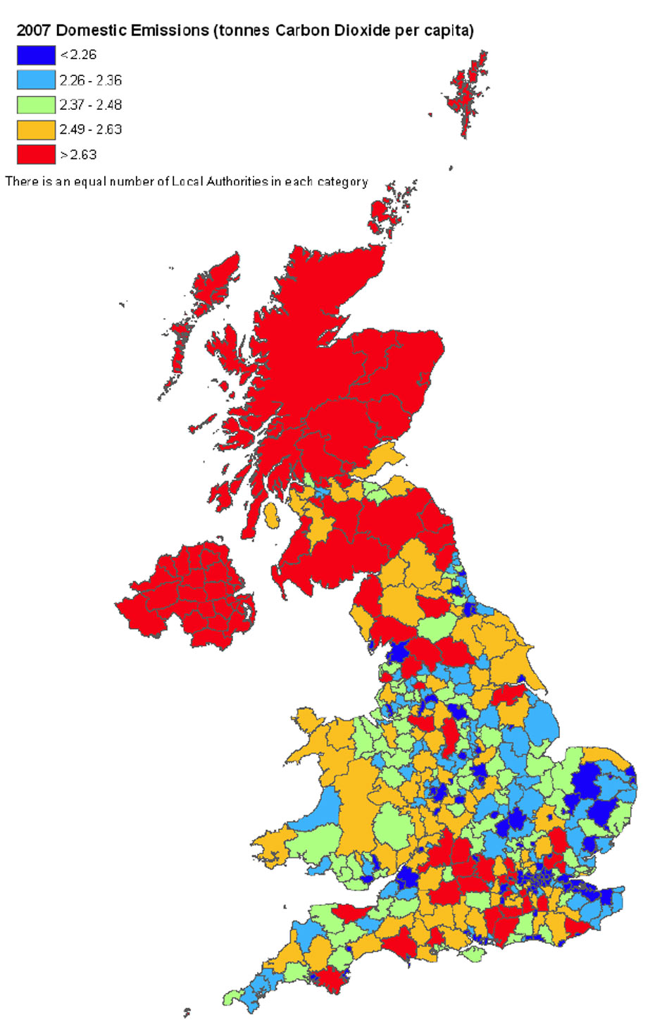 Map Of Uk Local Authorities.Uk Carbon Emissions Data By Local Authority Environment