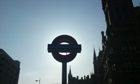 A London Underground tube sign outside King's Cross St Pancras in London. Photograph: Paul Owen.