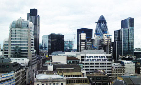 The skyline of City of London including Tower 42 and Swiss Re tower (gherkin). Photograph: Paul Owen