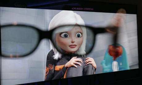 Monsters vs Aliens seen through 3D glasses at the Consumer Electronics Show in Las Vegas