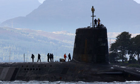 Submarine carrying Trident nuclear missiles at Faslane