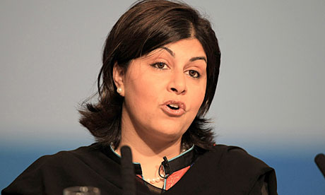 Lady Warsi addresses the Conservative party conference on day one