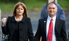 Former politician Tommy Sheridan and his wife Gail arrive at Glasgow
