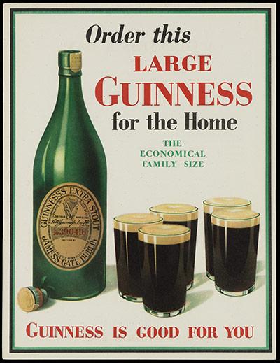 Реклама экономичной семейной бутылки пива Гиннесс
