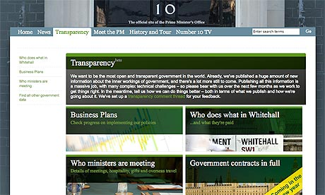 Downing street transparency site