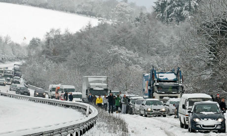 Traffic queues in the snow on the A3 near Guildford