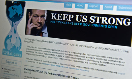 View of the WikiLeaks homepage