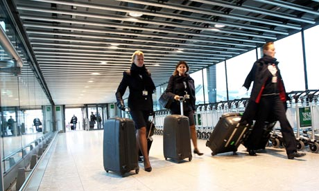 British Airways staff head to work at Heathrow's terminal 5