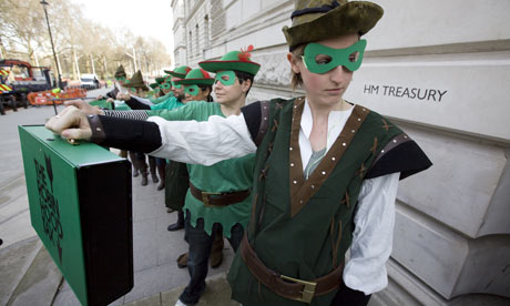 Robin Hood tax campaigners protest outside the Treasury