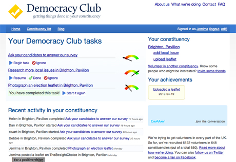 The MySociety spin-off project DemocracyClub.org