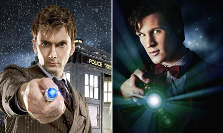 David Tennant and Matt Smith as Doctor Who
