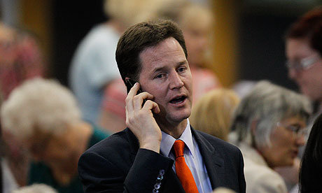 Nick Clegg on the phone during election night