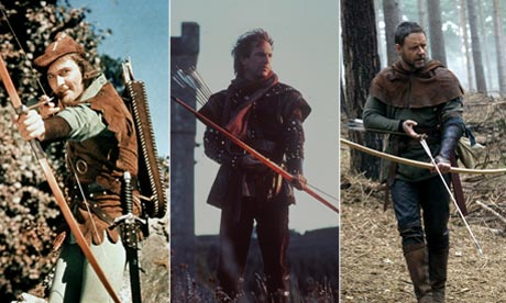 Errol Flynn, Kevin Costner and Russell Crowe as Robin Hood