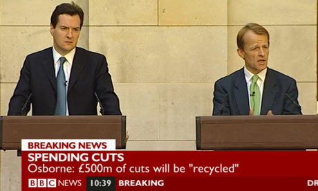 George Osborne and David Laws announcing spending cuts on 24 May 2010.